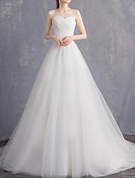 abordables -Trapèze Coeur Traîne Brosse Tulle Sans Bretelles Pour tous les jours Transparent Robes de mariée sur mesure avec 2020