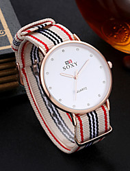 cheap -Women's Quartz Watches Fashion Red Ivory Ink Blue Fabric Quartz Ivory Blue Casual Watch 1 pc Analog One Year Battery Life / Stainless Steel