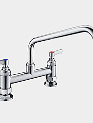 cheap -Chrome Deck Mount Dual Lever Handle Gooseneck Kitchen Workboard Sink and Pantry Mixer Faucet Tap with Swing Nozzle