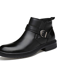 cheap -Men's Fashion Boots Nappa Leather Fall Casual Boots Wear Proof Booties / Ankle Boots Black