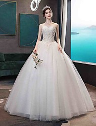cheap -Ball Gown Sweetheart Neckline Floor Length Tulle Strapless Glamorous Illusion Detail Wedding Dresses with Beading / Appliques 2020