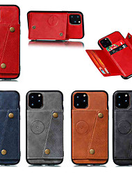 cheap -Case For Apple iPhone 11 / iPhone 11 Pro / iPhone 11 Pro Max Card Holder / with Stand Back Cover Solid Color Leather Double Button PU Leather for iPhone X / Xs / Xr / Xs Max / 8 Plus / 6s Plus