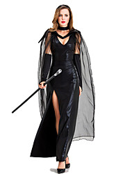 cheap -Witch Dress Cosplay Costume Party Costume Adults' Women's Cosplay Halloween Halloween Festival / Holiday Tulle Cotton / Polyester Blend Black Women's Carnival Costumes / Gloves / Cloak / Headwear