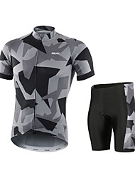 cheap -Arsuxeo Camo / Camouflage Men's Short Sleeve Cycling Jersey with Shorts - Grey White Red Bike Clothing Suit Breathable Quick Dry Anatomic Design Sports Polyester Spandex Mountain Bike MTB Road Bike