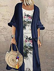cheap -Women's Maxi Plus Size Green Navy Blue Dress Jalabiya Floral L XL