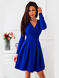 cheap -Women's Wine Blue Dress A Line Solid Colored V Neck S M