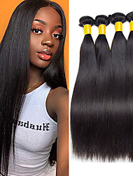 cheap -3 Bundles Brazilian Hair Straight Human Hair Human Hair Extensions 8-28 inch Natural Color Human Hair Weaves Hot Sale Shedding Free Tangle Free Human Hair Extensions / 8A