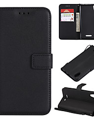 cheap -Case For Wiko Wiko Lenny 5 Wallet / Card Holder / Flip Full Body Cases Solid Colored PU Leather / TPU