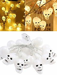 cheap -3D Halloween Skeleton Lights Lanterns 3m 9.84ft 20 LED Skull Lights Halloween String Lights Battery Powered Decor Indoor Outdoor Party Yard White