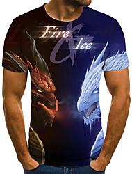cheap -Men's Plus Size Geometric 3D Pleated Print T-shirt Street chic Weekend Round Neck Blue / Summer / Short Sleeve / Animal