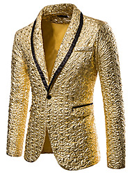 cheap -Men's Blazer, Solid Colored Shirt Collar Polyester Black / Gold / Red