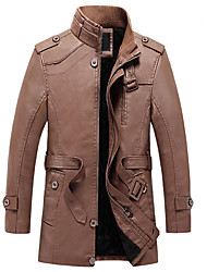 cheap -Men's Daily / Work Winter Long Leather Jacket, Solid Colored Stand Long Sleeve PU Black / Brown / Khaki