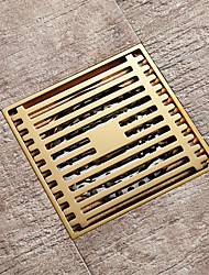 cheap -Champagne gold drain brass 4inch floor mounted 10x10cm bathroom waste gate