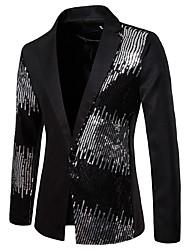 cheap -Men's Blazer, Color Block Notch Lapel Polyester Black / Red