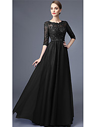 cheap -A-Line Cut Out Sexy Formal Evening Dress Jewel Neck Half Sleeve Floor Length 30D Chiffon with Pleats Beading Appliques 2021
