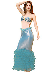cheap -Women's Ladies The Little Mermaid Sexy Lady Adults' Sexy Sex Cosplay Costume Outfits Party Costume Skirt Bra Headwear / Faux Leather
