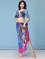 cheap -Belly Dance Outfits Women's Training / Performance Chiffon / Linen / Cotton Blend Pattern / Print / Sash / Ribbon / Glitter Half-Sleeve Natural Skirts / Top / Waist Accessory
