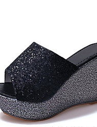 cheap -Women's Sandals Wedge Heel Peep Toe Linen Summer Black / Gold / Silver