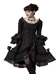 cheap -Women's Birthday Party Festival Boho Punk & Gothic Little Black Skater Dress - Solid Colored Lace Split Lace up Black S M L XL