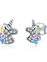 abordables -aaa multicolore zirconia boucles d'oreilles classique licorne mode dessin animé mode boucles d'oreilles bijoux