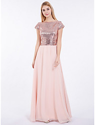 cheap -A-Line Bateau Neck Floor Length Chiffon / Sequined Bridesmaid Dress with Sequin