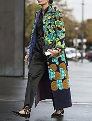 abordables -Femme Quotidien Automne hiver Normal Manteau, Géométrique Col rabattu Manches Longues Polyester Vert