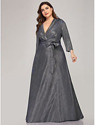 cheap -A-Line Plus Size Grey Party Wear Formal Evening Dress V Neck 3/4 Length Sleeve Floor Length Polyester with Sash / Ribbon 2020