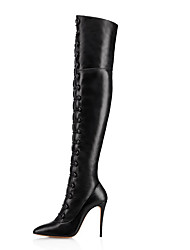 cheap -Women's Boots Over-The-Knee Boots Stiletto Heel Pointed Toe Faux Leather Thigh-high Boots British / Minimalism Winter Black