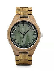 cheap -Couple's Sport Watch Japanese Japanese Quartz Stylish Wood Khaki No Casual Watch Wooden Analog Fashion - Green Two Years Battery Life