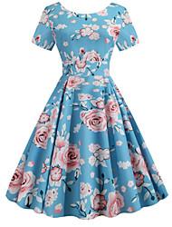 cheap -Women's Sheath Dress - Floral Light Blue S M L XL