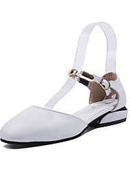 cheap -Women's Flats Low Heel Round Toe PU Casual Summer Black / White