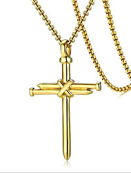cheap -Men's Pendant Necklace Geometrical Cross Fashion Titanium Steel Black Gold Silver 60 cm Necklace Jewelry 1pc For Daily Holiday