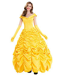 cheap -Belle Outfits Masquerade Women's Movie Cosplay Cosplay Vacation Dress Halloween Yellow Dress Gloves Halloween Carnival Masquerade Polyster