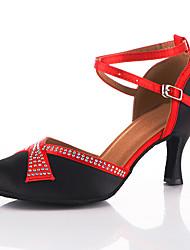 Недорогие -Жен. Танцевальная обувь Сатин Обувь для модерна Кристаллы / Crystal / Rhinestone На каблуках Кубинский каблук Персонализируемая Черный / Красный