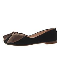 cheap -Women's Flats Flat Heel Square Toe Bowknot PU Minimalism Fall Black / Almond / Pink
