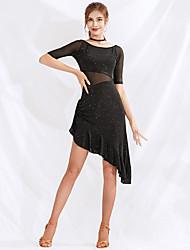 cheap -Latin Dance Dresses Women's Performance Spandex / Mesh Ruching Half Sleeve Dress