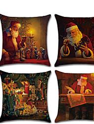 cheap -1 pcs Linen Pillow Cover, Christmas Contemporary Classic Christmas Throw Pillow