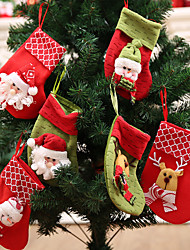 cheap -Santa Stocking Sock Candy Bags Christmas Tree Ornamets Pendants  Gift Bag For Children Fireplace Hanging Decor Party Supply-6Pcs