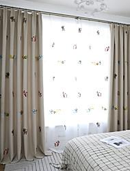 abordables -deux panneaux panneau chambre d'enfant style dessin animé mignon petit animal épais imitation chanvre broderie rideau occultant