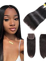 cheap -3 Bundles with Closure Indian Hair Straight Virgin Human Hair 100% Remy Hair Weave Bundles Natural Color Hair Weaves / Hair Bulk Bundle Hair Human Hair Extensions 8-24 inch Black Natural Color Human