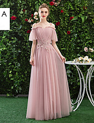 cheap -Sheath / Column V Neck / Strapless / Halter Neck Floor Length Chiffon Bridesmaid Dress with Ruching