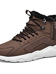 cheap -Men's Combat Boots Microfiber Fall & Winter Casual Boots Walking Shoes Warm Black / Brown / Black / White