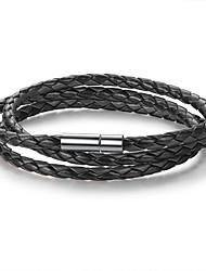 abordables -bracelet en cuir de bracelet pour homme en couches superposé tordu pas cher design unique de base mode multi couche bracelet en acier inoxydable bijoux brun / rouge / noir / blanc pour la fête