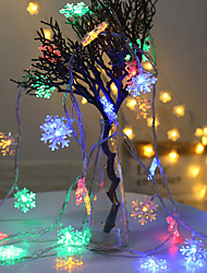 cheap -2m String Lights 10 LEDs EL Warm White RGB Wedding Christmas Wedding Decoration Party Supplies Snowflake Rope Light Garland Ornaments Tree Home Decorations Winter Snow AA Batteries Powered 1pc