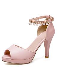 cheap -Women's Sandals Stiletto Heel Peep Toe PU Summer Black / White / Pink