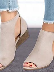 cheap -Women's Sandals Wedge Heel Peep Toe Suede Summer Black / Brown / Beige