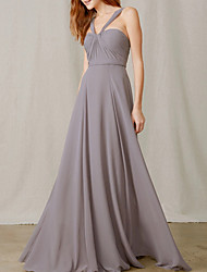 cheap -A-Line Halter Neck Floor Length Chiffon Bridesmaid Dress with Pleats