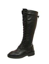 cheap -Women's Boots Low Heel Round Toe Stitching Lace Microfiber Mid-Calf Boots Casual Walking Shoes Fall & Winter Black