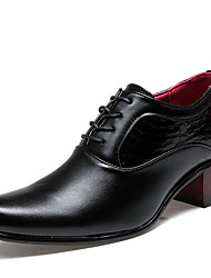 cheap -Men's Comfort Shoes PU Fall High Heel / Casual Oxfords Non-slipping Black