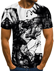 cheap -Men's Daily Going out Street chic / Exaggerated T-shirt - 3D / Graphic / Letter Pleated / Print Black